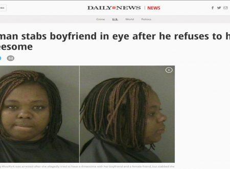 Ragazza accoltella il fidanzato perché lui non vuole fare sesso a tre