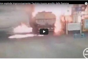 Il camion esplode improvvisamente: l'autista muore avvolto dalle fiamme