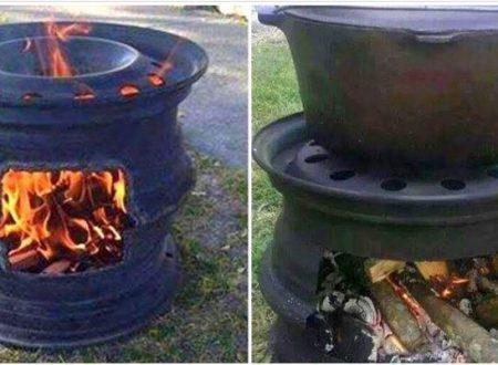barbecue Fai da te Con Due Cerchioni