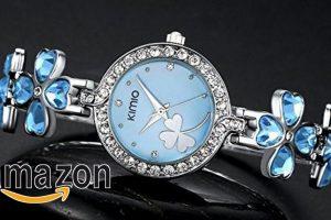 Prezzo promozionale:EUR 21,80 – Ostan Donna Gioielli Cuore Cristalli Fiore Forma Rotondo Quadrante con Cubic Zirconia Braccialetto Orologi da Polso