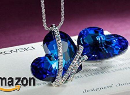 """EUR 36,99 – Pauline & Morgen """"goccia di Venere"""" Collana donna-cristallo SWAROVSKI ELEMENTS blu-colore oro bianco, 43cm"""