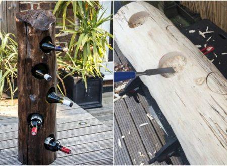 Come Trasformare un semplice tronco,in un porta bottiglie di vino unico.
