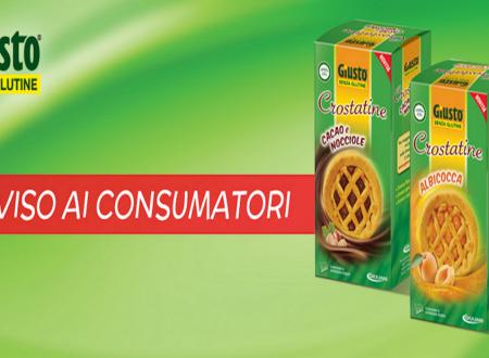 Crostatine senza glutine: richiamati alcuni lotti marchio Giusto