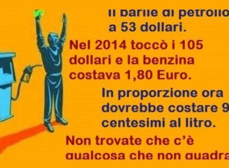 Il barile di petrolio a 53 dollari – nel 2014 toccò i 105 dollari e la benzina costava 1,80 Euro. In proporzione ora dovrebbe costare 90 centesimi al litro. C'è qualcosa che non quadra?