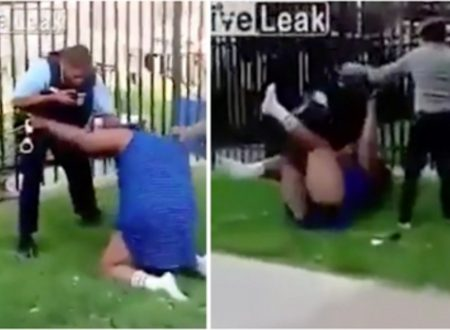 (Video) Poliziotto Americano colpisce ripetutamente una donna per cercare di arrestarla.